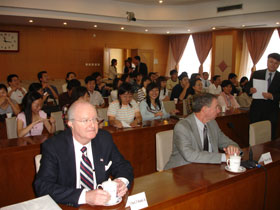 NASA Administrator Michael Griffin (right) with U.S. Ambassador Clark Randt, Jr., before his talk with graduate students from the Chinese Academy of Science.