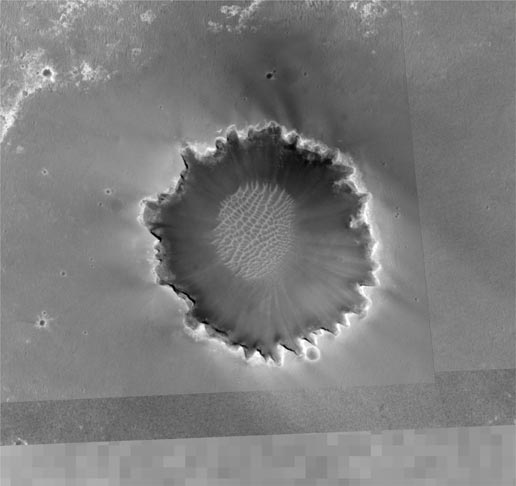 Mars Global Surveyor view of Victoria crater