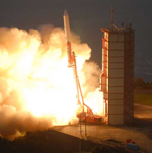 Solar-B, an international mission to study the sun,  launches from Uchinoura Space Center in Kagoshima, Japan.