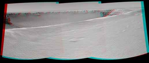 Anaglyph view of the interior of Victoria crater