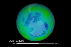 Ozone hole on August 12, 2006