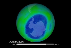 Ozone hole on August 27, 2006