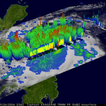 Typhoon Xangsane captured in 3d by TRMM on September 26, 2006.