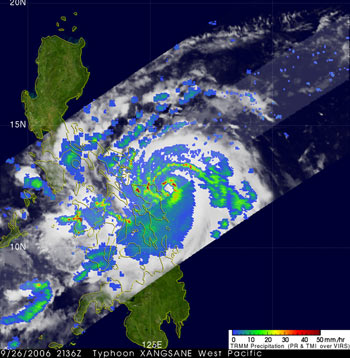 Typhoon Xangsane captured by TRMM on September 26, 2006.