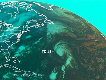 GOES spots Tropical Depression 9 in the Atlantic.