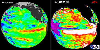 The left image shows sea surface height anomalies on September 15, 2006, during a weak El Nino event. The right image, from September 20, 1997, was associated with a much more intense El Nino.