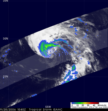 TRMM captured this image of Isaac when he was Tropical Depression 9 at 6:40 am EDT on Sept. 28 in the Central Atlantic.