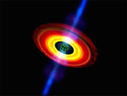 Still from animation showing the difference between a spinning and nonspinning black hole.