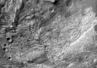 first image from high resolution camera on Mars Reconnaissance Orbiter