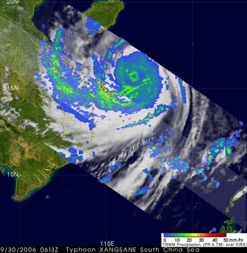 TRMM image of Typhoon Xangsane on September 30, 2006.