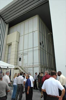 The west door of the Operations and Checkout Building is reopened.