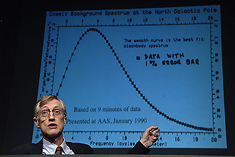 NASA Scientist Dr. John C. Mather shows some of the earliest data from the NASA Cosmic Background Explorer (COBE) Satellite during a press conference held at NASA Headquarters in Washington, DC.  Dr. Mather was co-recipient of the 2006 Nobel Prize for Physics today October 3, 2006. Photo Credit: NASA/Bill Ingalls