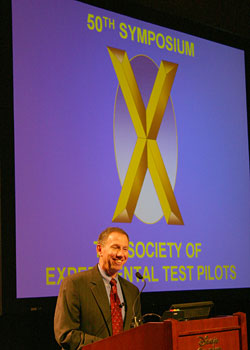 Dr. Michael Griffin, NASA Administrator speaks to members of the Society of Experimental Test Pilots.