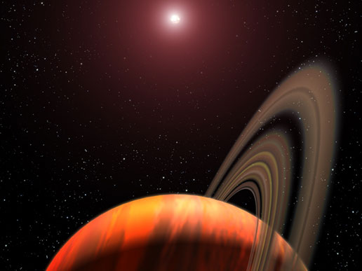 A gas giant planet orbiting a red dwarf K star