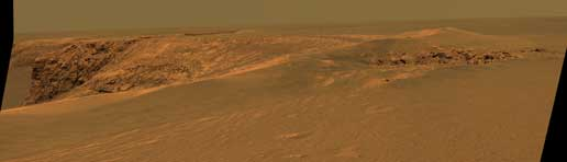 Opportunity views rock layers at Victoria Crater