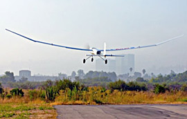 Fuel cell-powered, remotely piloted airplane takes off.