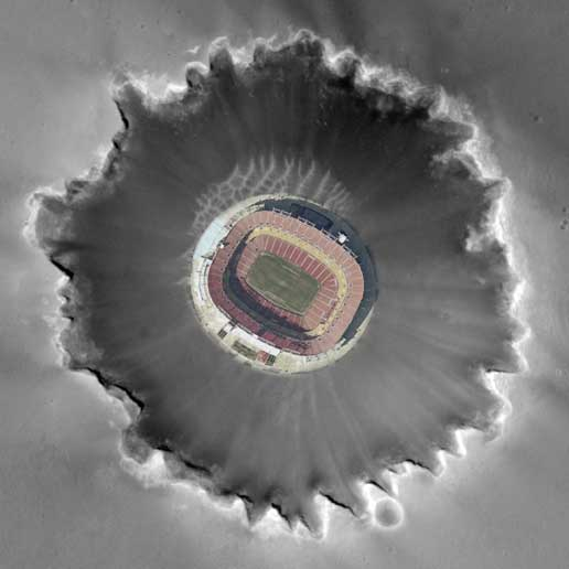 photo composite of FedEx Field in Landover, Md., superimposed on Mars' Victoria Crater