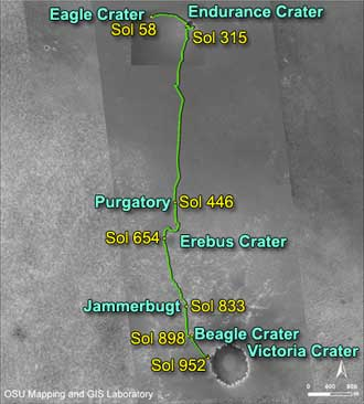 traverse map of Opportunity with labels showing sol and location