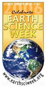 Earth Science Week graphic showing the Earth and the words Celebrate Earth Science Week