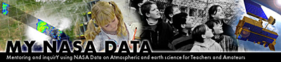 The words MY NASA DATA under a collage of pictures including a satellite image of Earth, students and a satellite