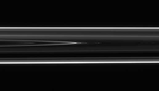 Saturn's D ring with an intriguing structure that appears to be a wavy spiral
