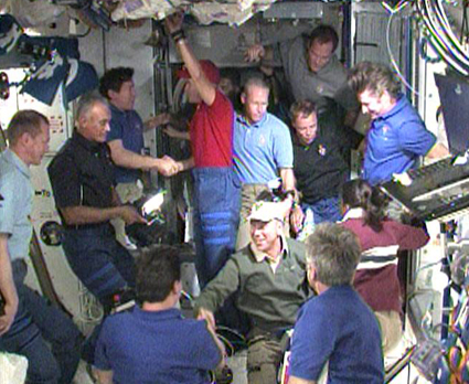 The Expedition 20 and STS-128 crews say goodbye