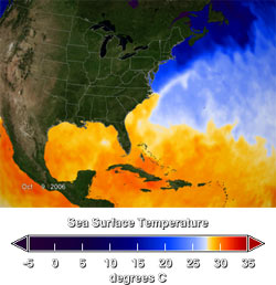 Map showing the current sea surface temperatures as of October 9, 2006.