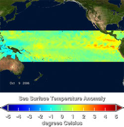 The second product on this webpage shows the most recent 10 day average of SST anomalies derived from Aqua AMSR E SST measurements.