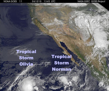 GOES image of Tropical storm Olivia and Norman in the Pacific
