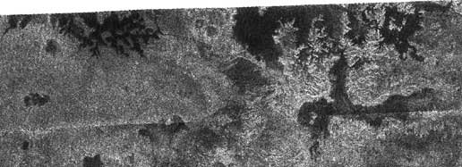 radar image showing previously unseen style of lakes on Titan