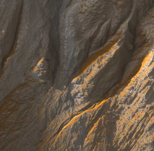 portion of gullies in a crater in the southern highlands of Mars