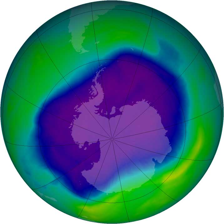 From September 21-30, 2006 the average area of the ozone hole was the largest ever observed, at 10.6 million square miles. This image, from Sept. 24, the Antarctic ozone hole was equal to the record single-day largest area of 11.4 million square miles, reached on Sept. 9, 2000. Satellite instruments monitor the ozone layer, and we use their data to create the images that depict the amount of ozone. The blue and purple colors are where there is the least ozone, and the greens, yellows, and reds are where there is more ozone.