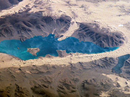 Har Nuur or the Black Lake, located in western Mongolia's Valley of Lakes