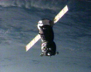 The Soyuz TMA-9 maneuvers near the space station