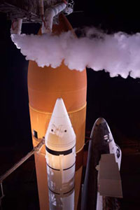 The space shuttle as seen from the 255-foot level on the launch pad.