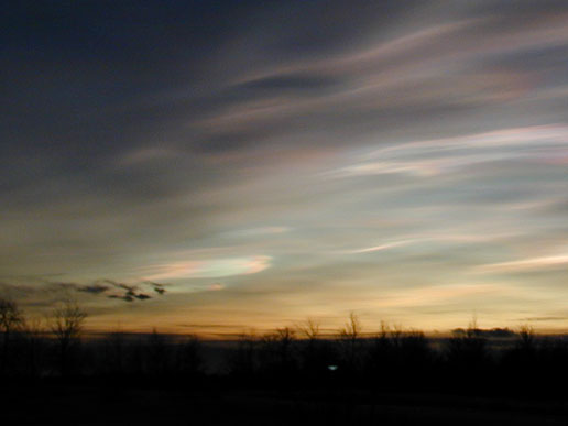 Polar stratospheric clouds lit from below near Kiruna, Sweden.
