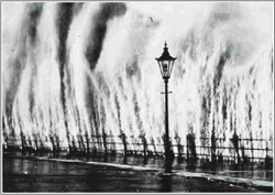 Storm surge from the 1938 hurricane at the Battery, New York City.