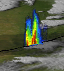 This image created from data provided by TRMM shows a vertical cross section through a severe thunderstorm over western Oklahoma on May 4, 2003.
