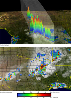 These images show a snapshot of thunderstorms over Texas on April 30, 2004, using data from the TRMM satellite.