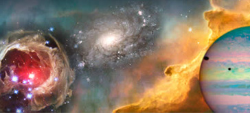 Image of a collection of the Hubble Space Telescopes best pictures -- Pictured is a galaxy, a nebula, distant stars, planets, and the cosmos.