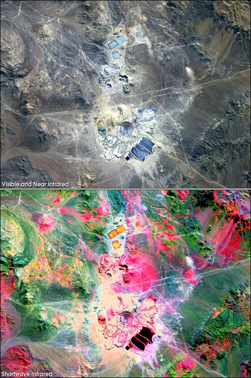 Minera Escondida from Space, NASA, Escondida Mine