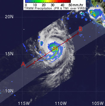 Image of Tropical Storm Paul in the Eastern Pacific as seen by TRMM.