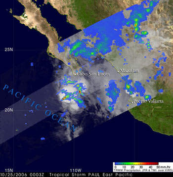 TRMM image of Tropical Storm Paul on October 25, 2006.