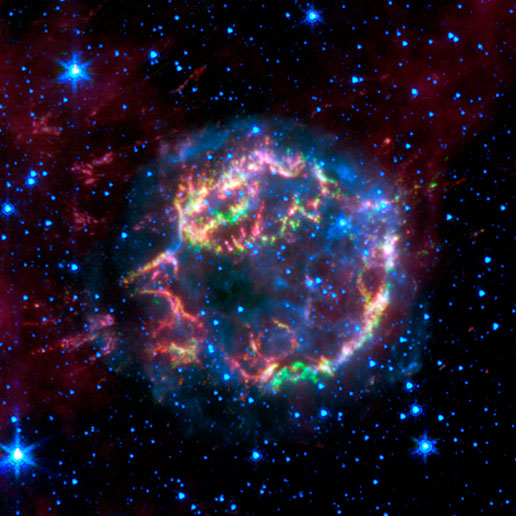 scattered remains of an exploded star named Cassiopeia A