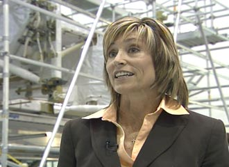 Payload Mission Manager Deborah Hahn in front of the P5 Integrated Truss Segment