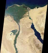 This image of the northern portion of the Nile River was captured by the Multi angle Imaging Spectroradiometer on January 30, 2001.