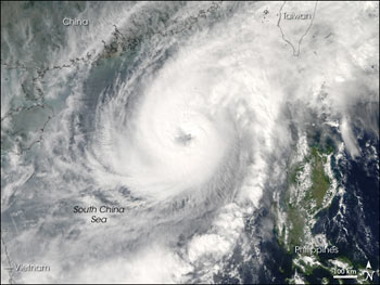 Aqua satellite captured this image of Super Typhoon Cimarron on October 31, 2006.