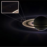Earth, seen as a pale blue dot from Saturn