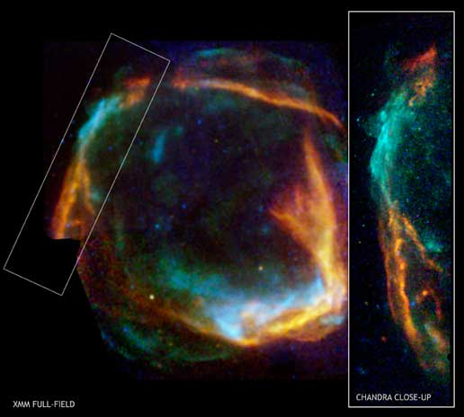 Combined Chandra and XMM-Newton X-ray images of RCW 86 shows results of massive star collapse.