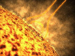 Still from animation depicting the initiation of a solar flare.